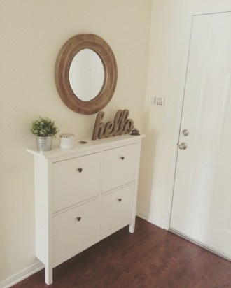 My little hallway. HEMNES Shoe cabinet IKEA.