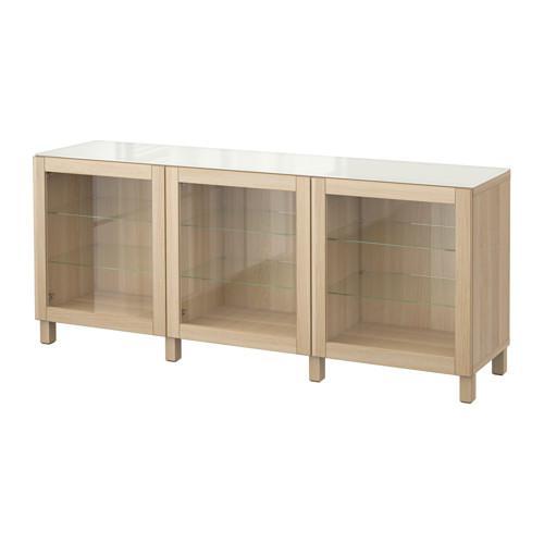 БЕСТО Комбинация для хранения с дверцами - Синдвик беленый дуб прозрачное стекло