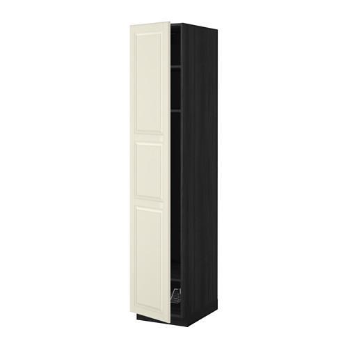 МЕТОД Выс шкаф с полками/проволоч корзин - 40x60x200 см, Будбин белый с оттенком, под дерево черный