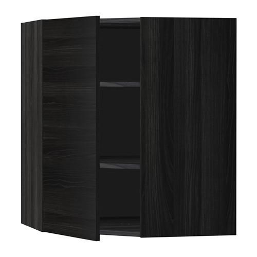 МЕТОД Угловой навесной шкаф с полками - 68x80 см, Тингсрид под дерево черный, под дерево черный