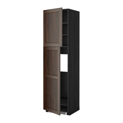 МЕТОД Высокий шкаф д/холодильника/2дверцы - 60x60x220 см, Эдсерум под дерево коричневый, под дерево черный