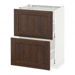 МЕТОД / МАКСИМЕРА Напольный шкаф с 2 ящиками - 60x37 см, Эдсерум под дерево коричневый, белый