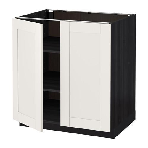 МЕТОД Напол шкаф с полками/2двери - 80x60 см, Сэведаль белый, под дерево черный