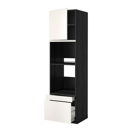 МЕТОД / МАКСИМЕРА Выс шкаф д/дхвк/комб дхвк+двр/2ящ - 60x60x220 см, Веддинге белый, под дерево черный