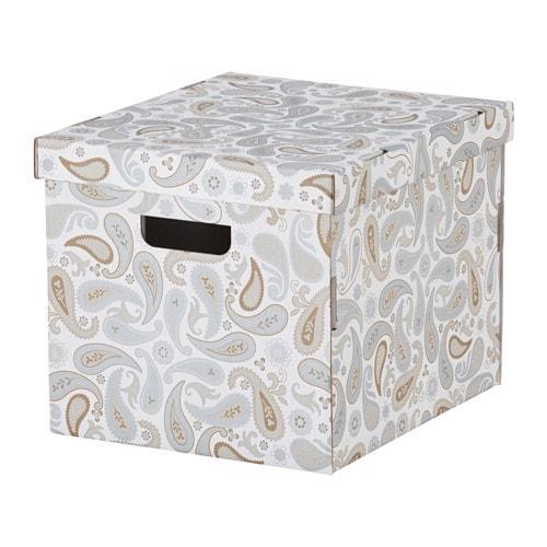 СМЕКА Коробка с крышкой - серый/с рисунком