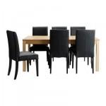 БЬЮРСТА/ХЕНРИКСДАЛЬ Стол и 6 стульев - , коричнево-чёрный/Робуст черный