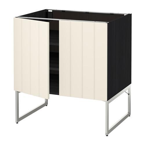 МЕТОД Напол шкаф с полками/2двери - 80x60x60 см, Хитарп белый с оттенком, под дерево черный