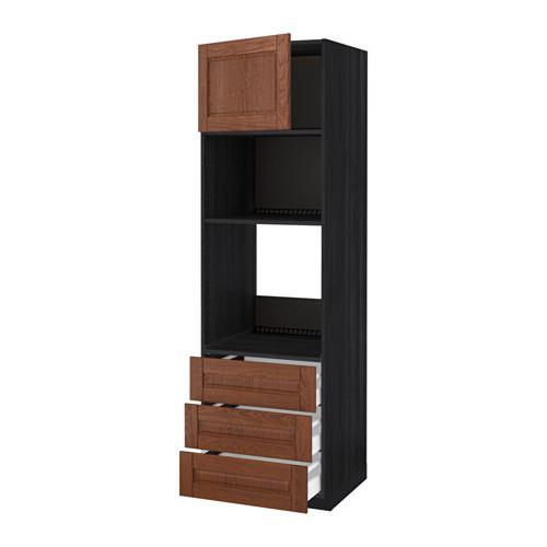 МЕТОД / МАКСИМЕРА Высок шкаф д/духовки/СВЧ/дверца/3ящ - 60x60x200 см, Филипстад коричневый, под дерево черный