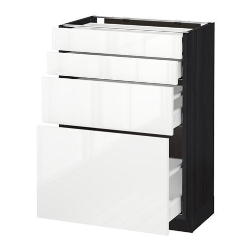 МЕТОД / МАКСИМЕРА Напольн шкаф 4 фронт панели/4 ящика - 60x37 см, Рингульт глянцевый белый, под дерево черный
