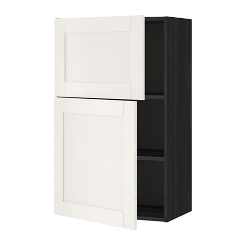 МЕТОД Навесной шкаф с полками/2дверцы - Сэведаль белый, под дерево черный