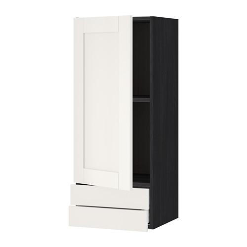 МЕТОД / МАКСИМЕРА Навесной шкаф с дверцей/2 ящика - 40x100 см, Сэведаль белый, под дерево черный
