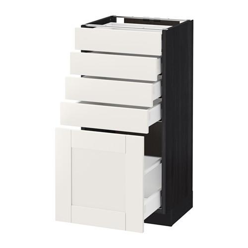 МЕТОД / МАКСИМЕРА Напольный шкаф с 5 ящиками - 40x37 см, Сэведаль белый, под дерево черный