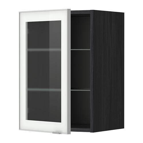 МЕТОД Навесной шкаф с полками/стекл дв - 40x60 см, Ютис матовое стекло/алюминий, под дерево черный