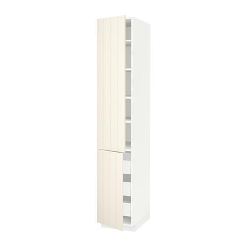 МЕТОД / МАКСИМЕРА Высокий шкаф+полки/3 ящика/2 дверцы - белый, Хитарп белый с оттенком, 40x60x220 см