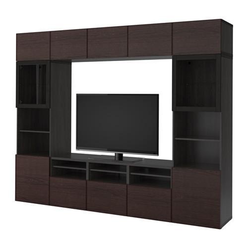 Zwart Glazen Tv Meubel.Bessto Kabinet Voor Tv Combinatie Glazen Deuren Zwart