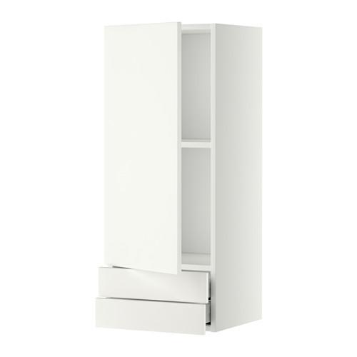 МЕТОД / МАКСИМЕРА Навесной шкаф с дверцей/2 ящика - 40x100 см, Хэггеби белый, белый