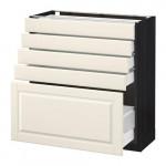 МЕТОД / МАКСИМЕРА Напольный шкаф с 5 ящиками - 80x37 см, Будбин белый с оттенком, под дерево черный