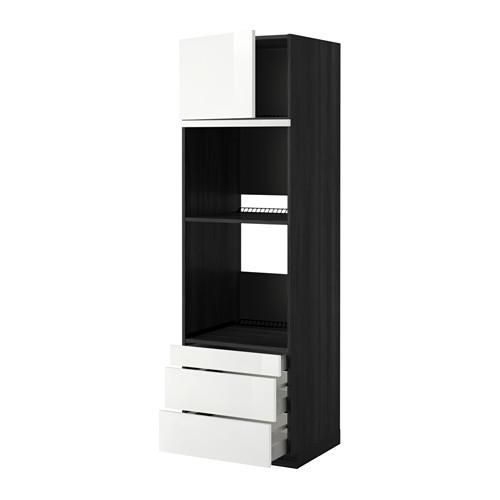 МЕТОД / МАКСИМЕРА Выс шкаф д/дхвк/комб дхвк+двр/3ящ - 60x60x200 см, Рингульт глянцевый белый, под дерево черный