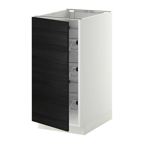МЕТОД Напольный шкаф с проволочн ящиками - 40x60 см, Тингсрид под дерево черный, белый