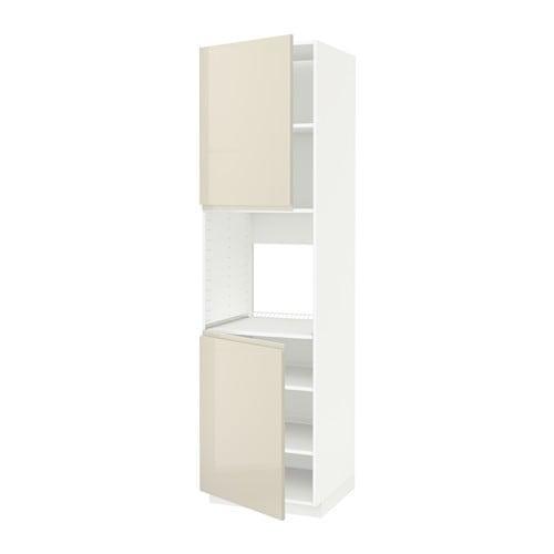 Mensole Bianco Lucido.Metodo Alto Cabinet D Forno 2dvertsy Mensole Bianco Lucido Vokstorp Beige Chiaro 60x60x220 Cm