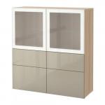 БЕСТО Комбинация д/хранения+стекл дверц - под беленый дуб/Сельсвикен глянцевый/бежевый матовое стекло, направляющие ящика, плавно закр