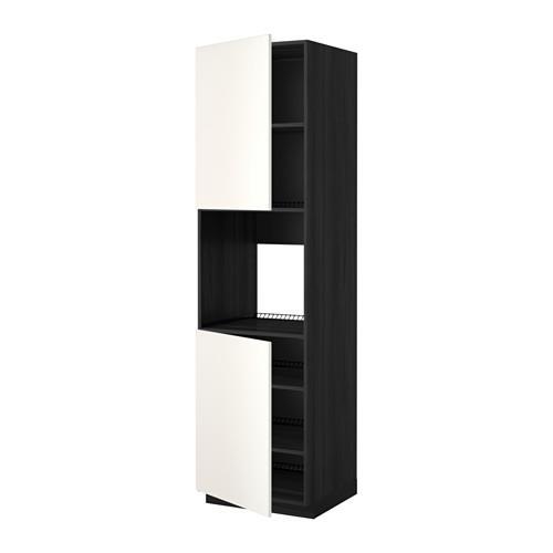MÉTODO armário alto d / forno / 2dvertsy / prateleiras - madeira preto, casamento branco, 60x60x220 cm