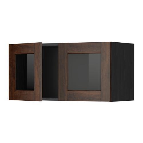 МЕТОД Навесной шкаф с 2 стеклянн дверями - под дерево черный, Эдсерум под дерево коричневый