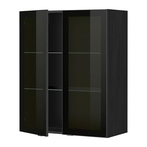 МЕТОД Навесной шкаф с полками/2 стекл дв - 80x100 см, Ютис дымчатое стекло/черный, под дерево черный