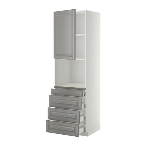 МЕТОД / МАКСИМЕРА Высокий шкаф д/комбинир СВЧ/4 ящика - 60x60x200 см, Будбин серый, белый