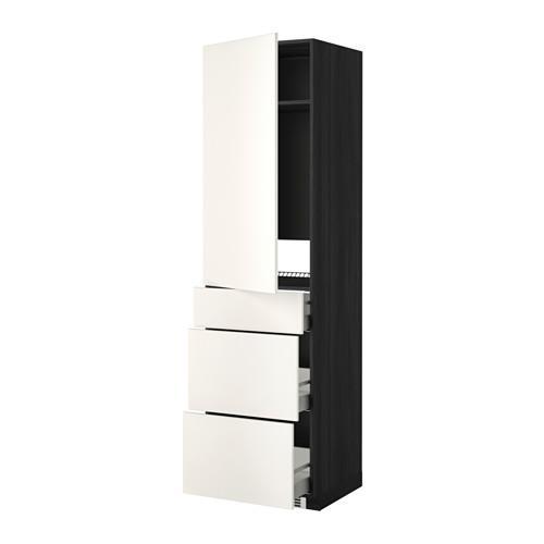МЕТОД / МАКСИМЕРА Выс шкаф д/холодильн, с дврц/3 ящ - Веддинге белый, под дерево черный