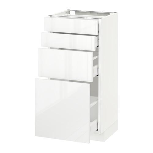 МЕТОД / МАКСИМЕРА Напольн шкаф 4 фронт панели/4 ящика - 40x37 см, Рингульт глянцевый белый, белый