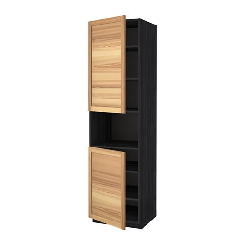 methode hochschrank d mikrowelle 2 t ren regale holz schwarz thorhamn natur asche. Black Bedroom Furniture Sets. Home Design Ideas