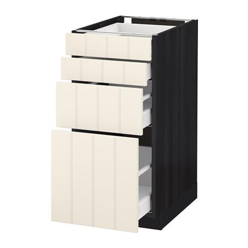 МЕТОД / МАКСИМЕРА Напольн шкаф 4 фронт панели/4 ящика - 40x60 см, Хитарп белый с оттенком, под дерево черный
