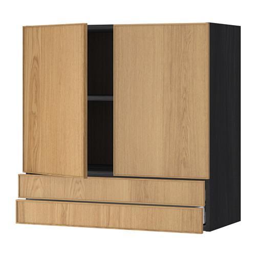 МЕТОД / МАКСИМЕРА Навесной шкаф/2дверцы/2ящика - 80x80 см, Экестад дуб, под дерево черный