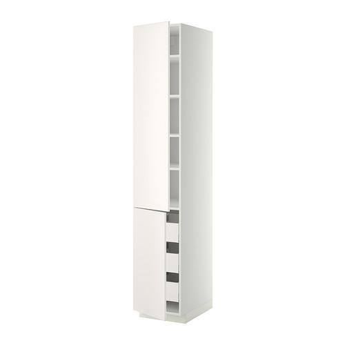 МЕТОД / МАКСИМЕРА Высокий шкаф+полки/3 ящика/2 дверцы - 40x60x220 см, Веддинге белый, белый