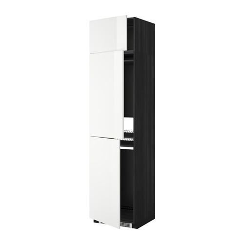 МЕТОД Выс шкаф для хол/мороз с 3 дверями - Рингульт глянцевый белый, под дерево черный