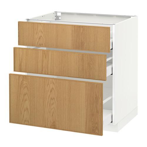МЕТОД / МАКСИМЕРА Напольный шкаф с 3 ящиками - 80x60 см, Экестад дуб, белый