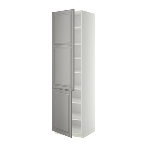 МЕТОД Высокий шкаф с полками/2 дверцы - 60x60x220 см, Будбин серый, белый