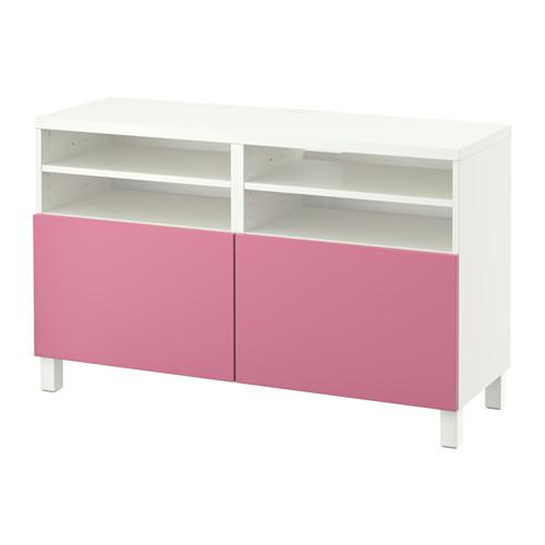 БЕСТО Тумба под ТВ, с дверцами - белый/Лаппвикен розовый
