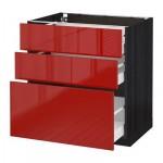 МЕТОД / МАКСИМЕРА Напольный шкаф с 3 ящиками - 80x60 см, Рингульт глянцевый красный, под дерево черный