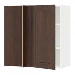 МЕТОД Угловой навесной шкаф с полками - белый, Эдсерум под дерево коричневый, 88x37x80 см