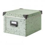 ФЬЕЛЛА Коробка с крышкой - светло-зеленый/в горошек, 22x26x16 см