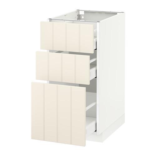 МЕТОД / МАКСИМЕРА Напольный шкаф с 3 ящиками - 40x60 см, Хитарп белый с оттенком, белый