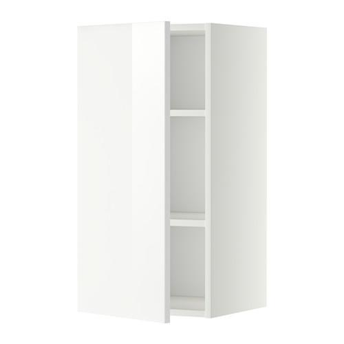 МЕТОД Шкаф навесной с полкой - 40x80 см, Рингульт глянцевый белый, белый