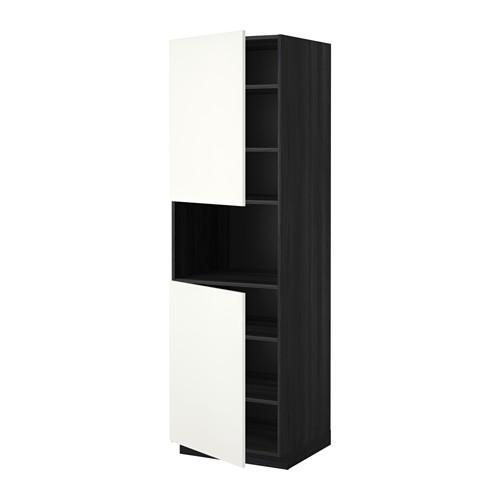 МЕТОД Выс шкаф д/СВЧ/2 дверцы/полки - 60x60x200 см, Хэггеби белый, под дерево черный