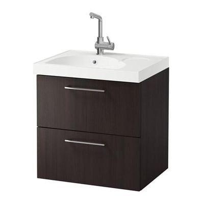 GODMORGON / EDEBOVIKEN cabinet sinks with 2 drawers - black-brown
