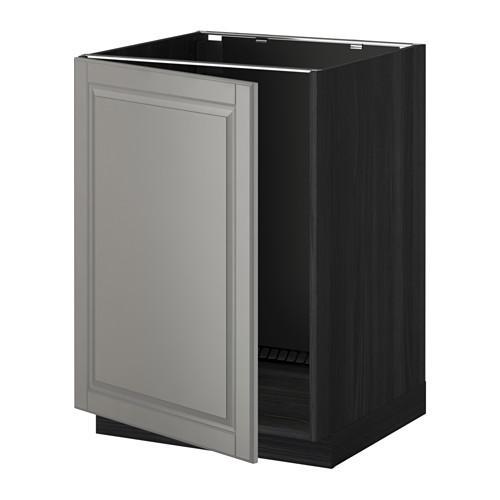 МЕТОД Напольный шкаф для раковины - Будбин серый, под дерево черный