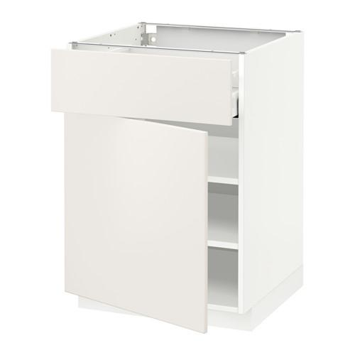 МЕТОД / МАКСИМЕРА Напольный шкаф с ящиком/дверью - 60x60 см, Веддинге белый, белый