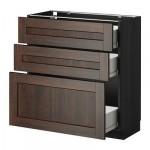 МЕТОД / ФОРВАРА Напольный шкаф с 3 ящиками - 80x37 см, Эдсерум под дерево коричневый, под дерево черный