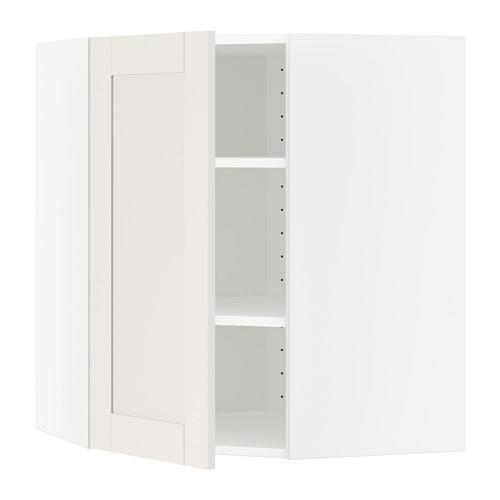 МЕТОД Угловой навесной шкаф с полками - 68x80 см, Сэведаль белый, белый